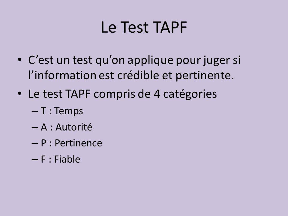 Le Test TAPF C'est un test qu'on applique pour juger si l'information est crédible et pertinente. Le test TAPF compris de 4 catégories.