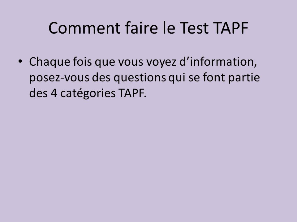Comment faire le Test TAPF