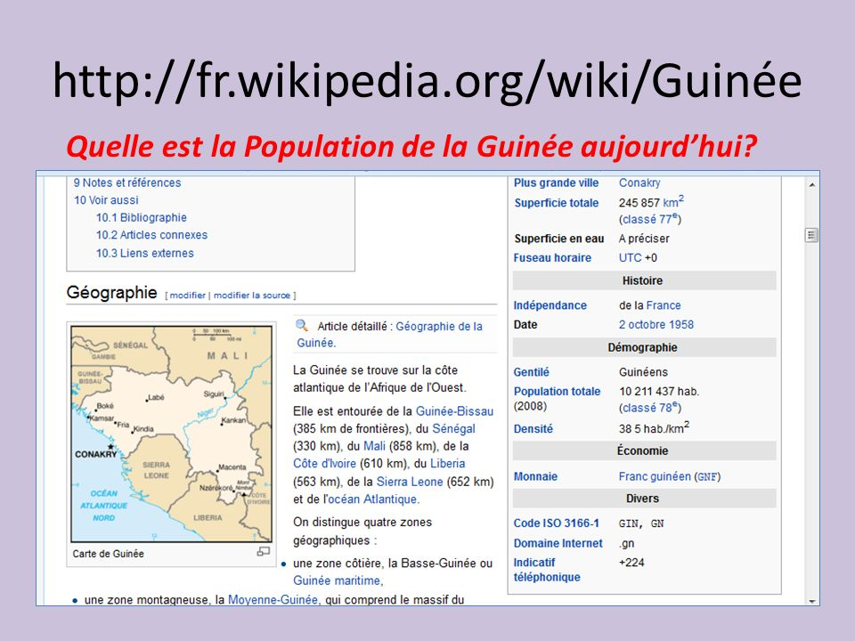 http://fr.wikipedia.org/wiki/Guinée Quelle est la Population de la Guinée aujourd'hui