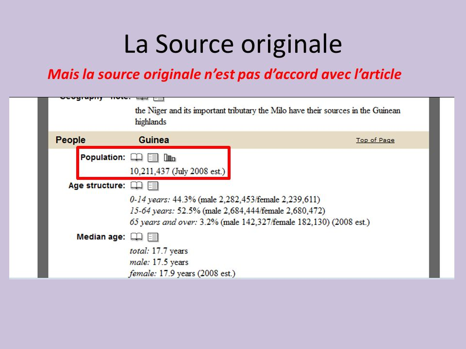La Source originale Mais la source originale n'est pas d'accord avec l'article