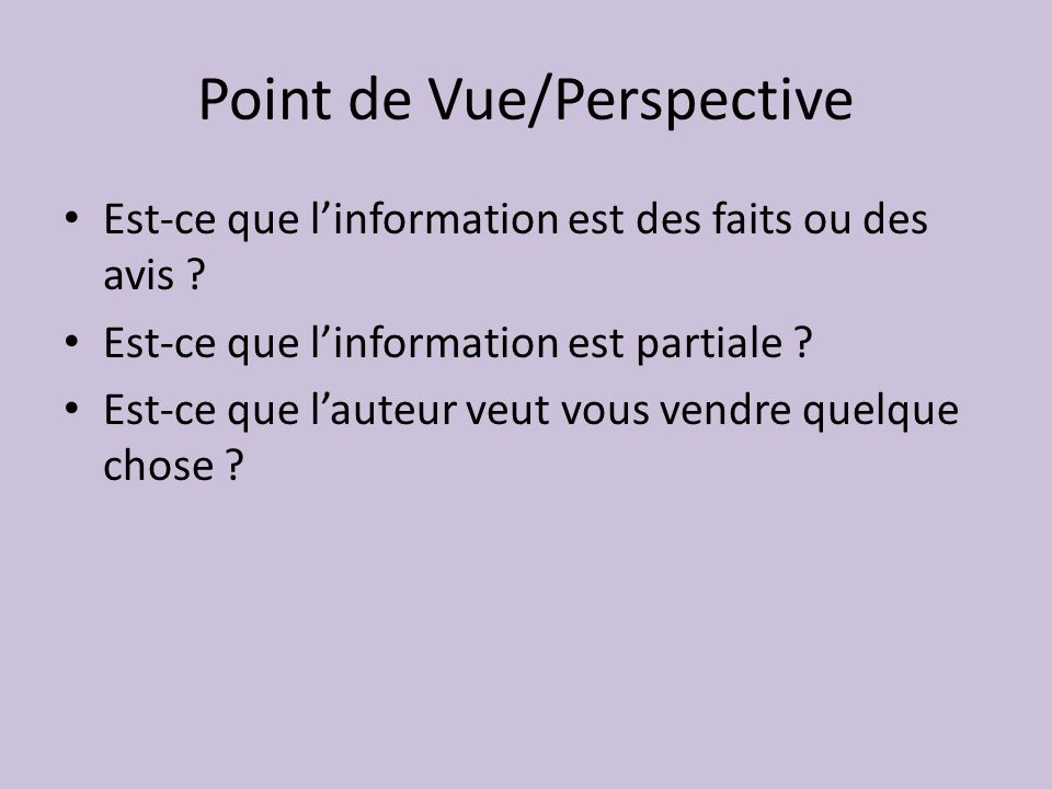 Point de Vue/Perspective
