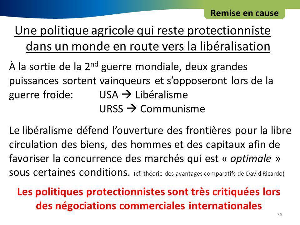 Remise en cause Une politique agricole qui reste protectionniste dans un monde en route vers la libéralisation.