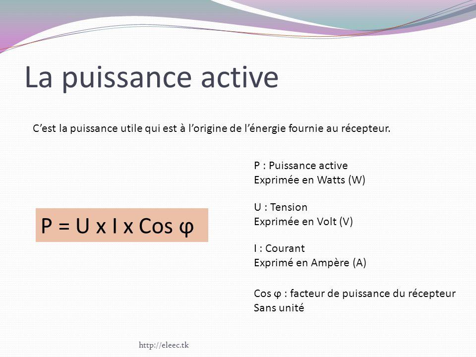 La puissance active P = U x I x Cos ϕ
