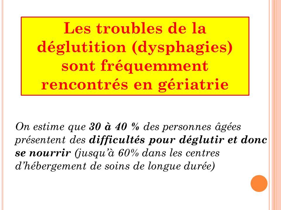 Les troubles de la déglutition (dysphagies) sont fréquemment rencontrés en gériatrie