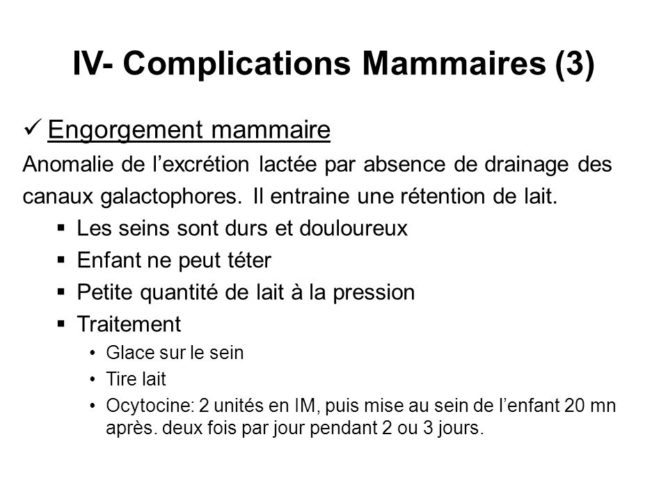 IV- Complications Mammaires (3)