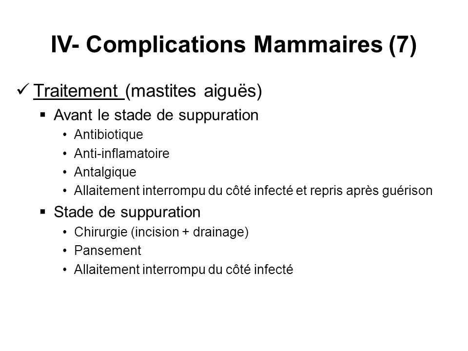 IV- Complications Mammaires (7)