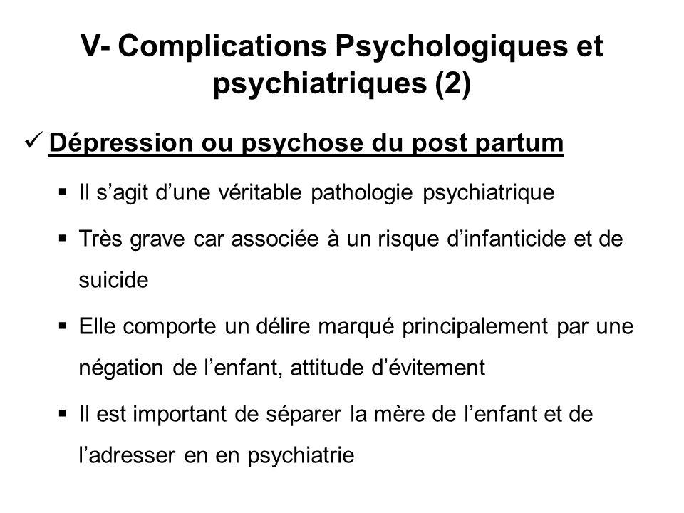 V- Complications Psychologiques et psychiatriques (2)