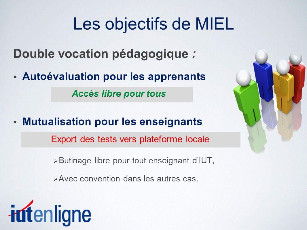 Les objectifs de MIEL Double vocation pédagogique :