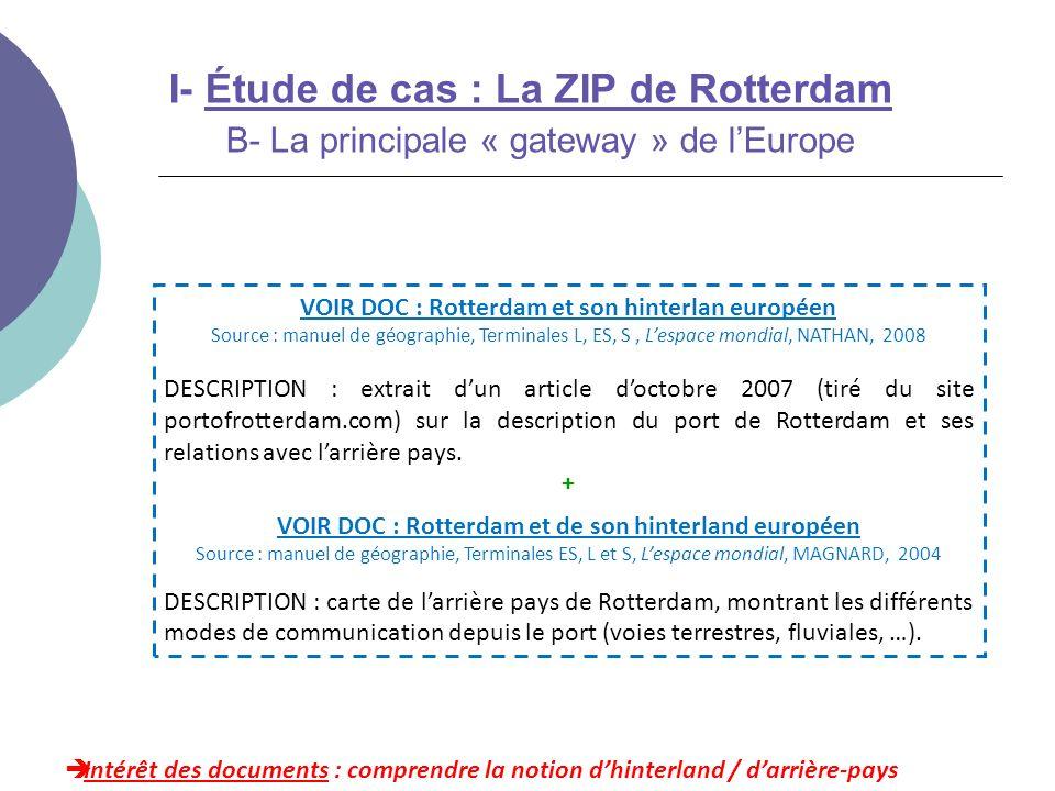 I- Étude de cas : La ZIP de Rotterdam B- La principale « gateway » de l'Europe
