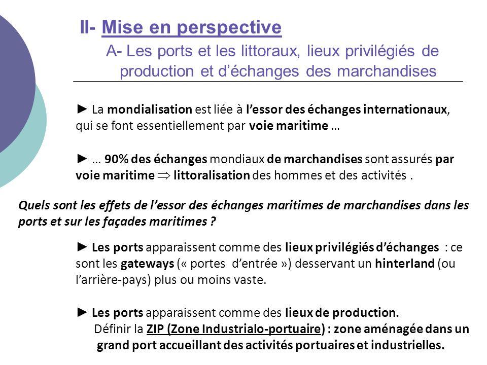 II- Mise en perspective A- Les ports et les littoraux, lieux privilégiés de production et d'échanges des marchandises