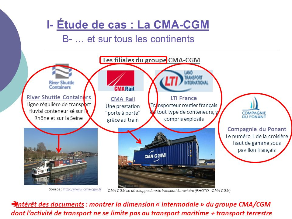 Les filiales du groupe CMA-CGM River Shuttle Containers