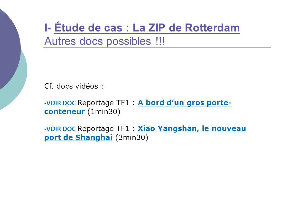 I- Étude de cas : La ZIP de Rotterdam Autres docs possibles !!!
