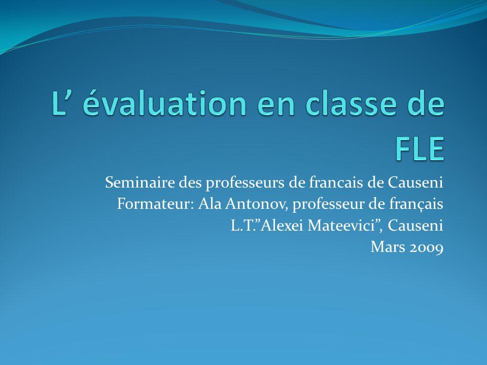 L' évaluation en classe de FLE