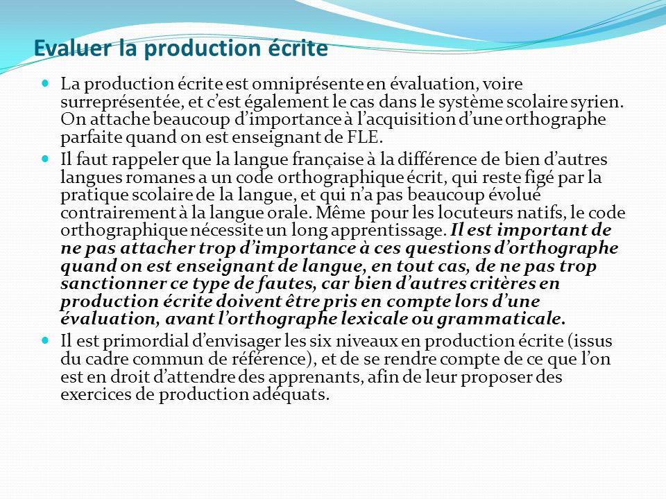 Evaluer la production écrite