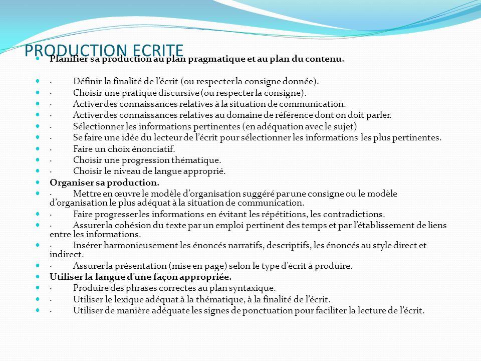 PRODUCTION ECRITE Planifier sa production au plan pragmatique et au plan du contenu.