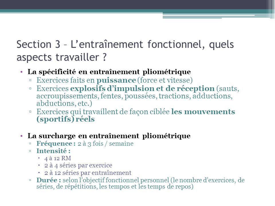 Section 3 – L'entraînement fonctionnel, quels aspects travailler