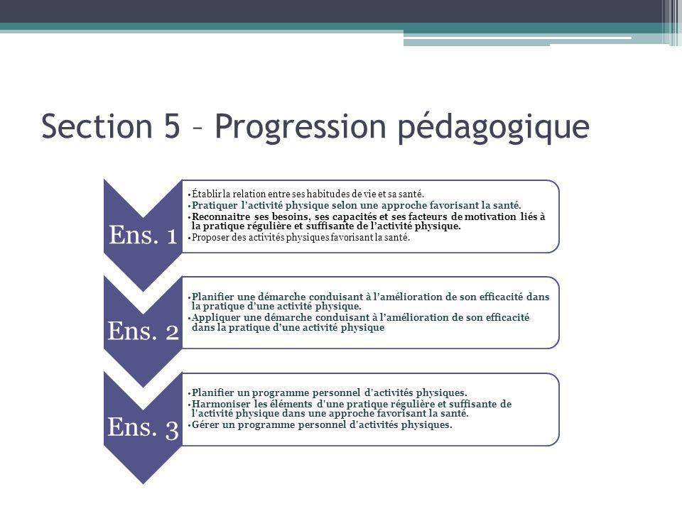 Section 5 – Progression pédagogique