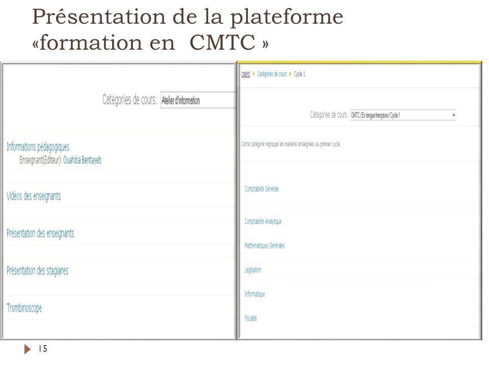 Présentation de la plateforme «formation en CMTC »