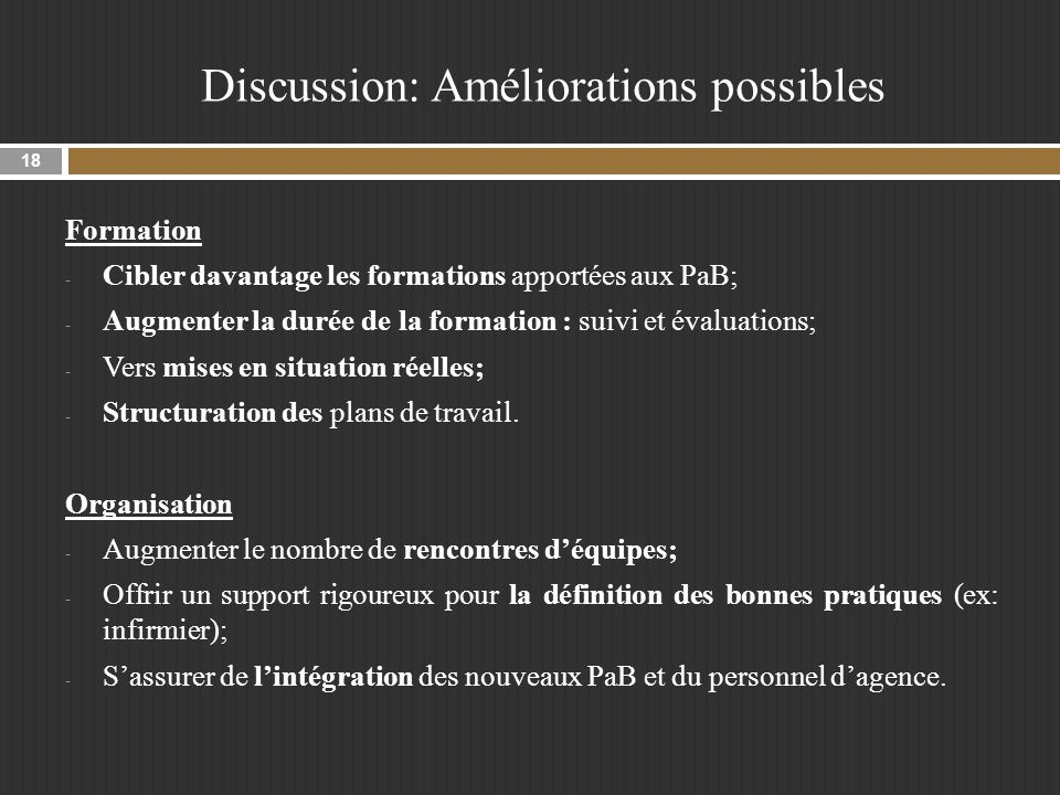 Discussion: Améliorations possibles