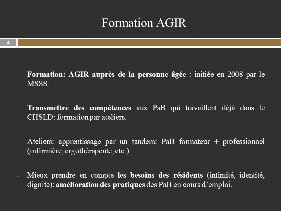 Formation AGIR Formation: AGIR auprès de la personne âgée : initiée en 2008 par le MSSS.