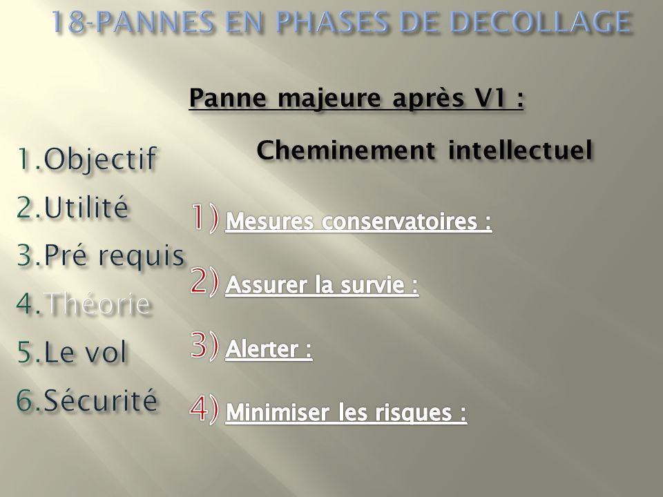 18-PANNES EN PHASES DE DECOLLAGE Cheminement intellectuel