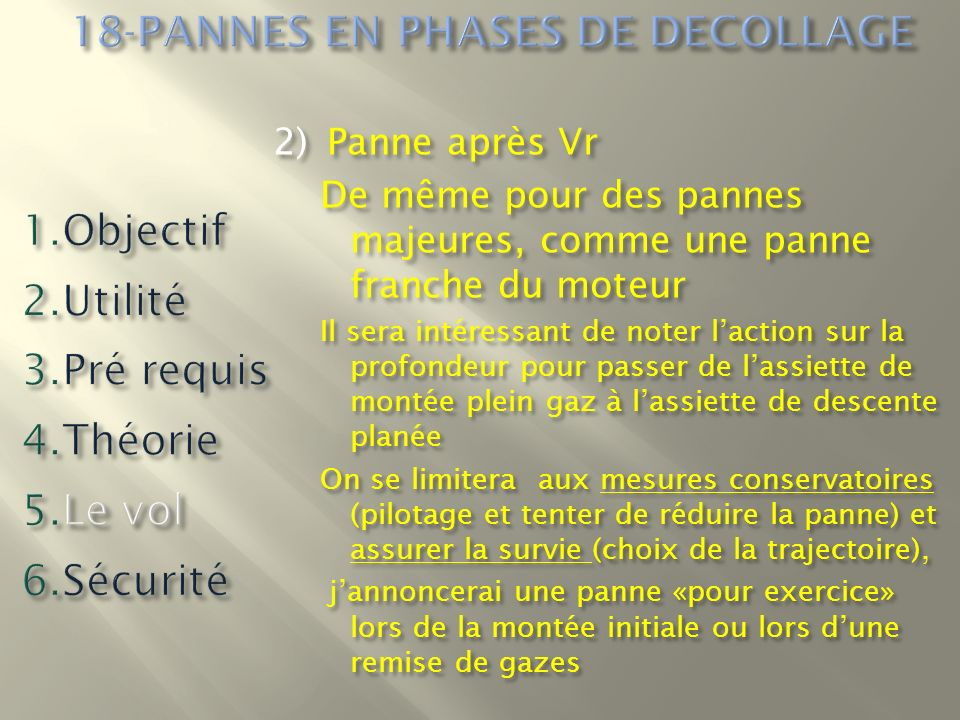 18-PANNES EN PHASES DE DECOLLAGE