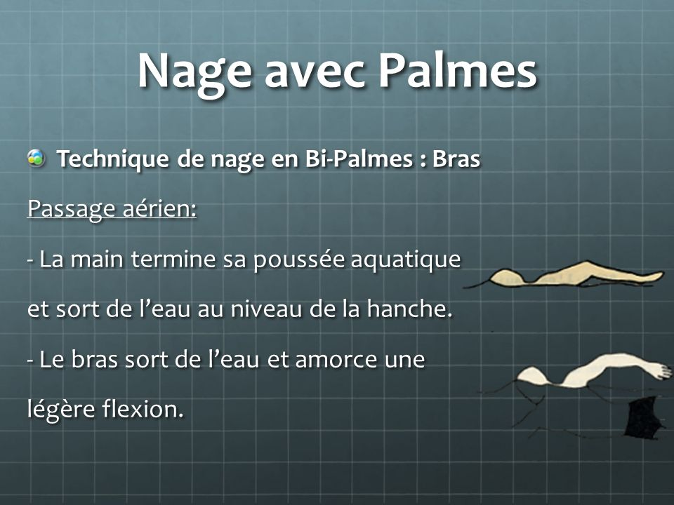 Nage avec Palmes Technique de nage en Bi-Palmes : Bras Passage aérien: