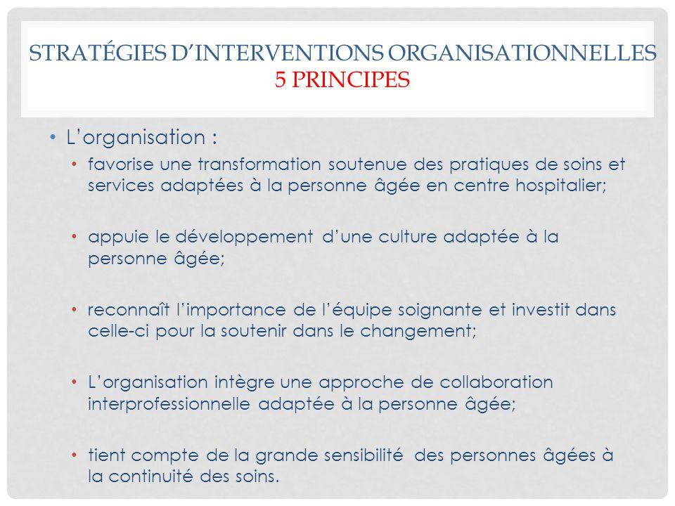 STRATÉGIES D'INTERVENTIONS ORGANISATIONNELLES 5 Principes