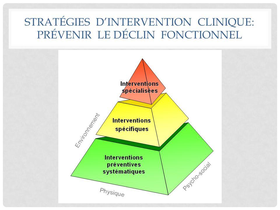 STRATÉGIES D'INTERVENTION CLINIQUE: PRÉVENIR LE DÉCLIN FONCTIONNEL