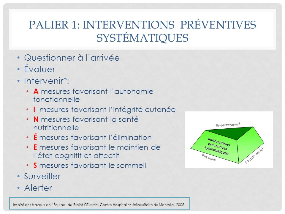 PALIER 1: INTERVENTIONS PRÉVENTIVES SYSTÉMATIQUES