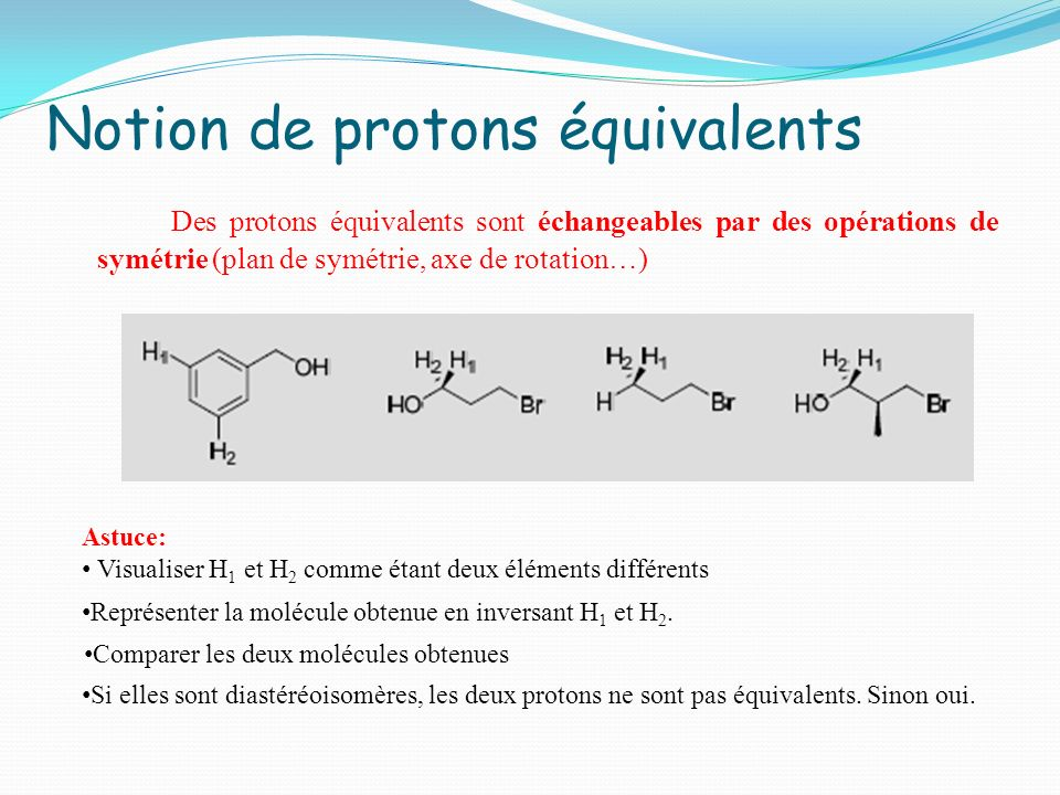 Notion de protons équivalents