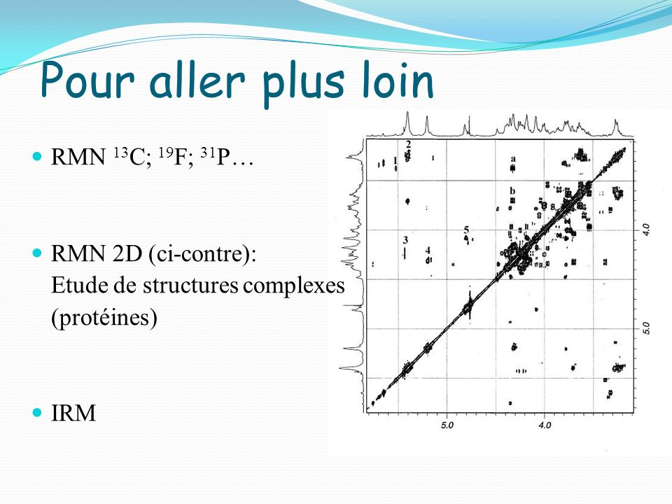 Pour aller plus loin RMN 13C; 19F; 31P… RMN 2D (ci-contre):