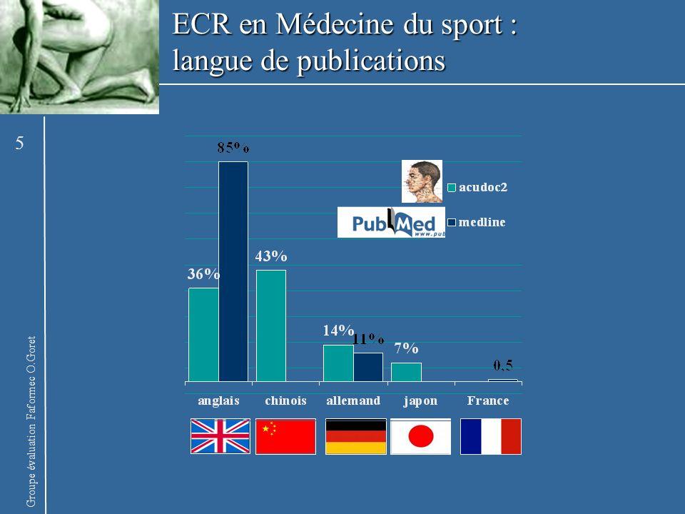 ECR en Médecine du sport : langue de publications
