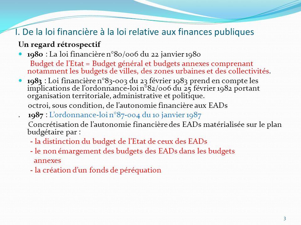 I. De la loi financière à la loi relative aux finances publiques