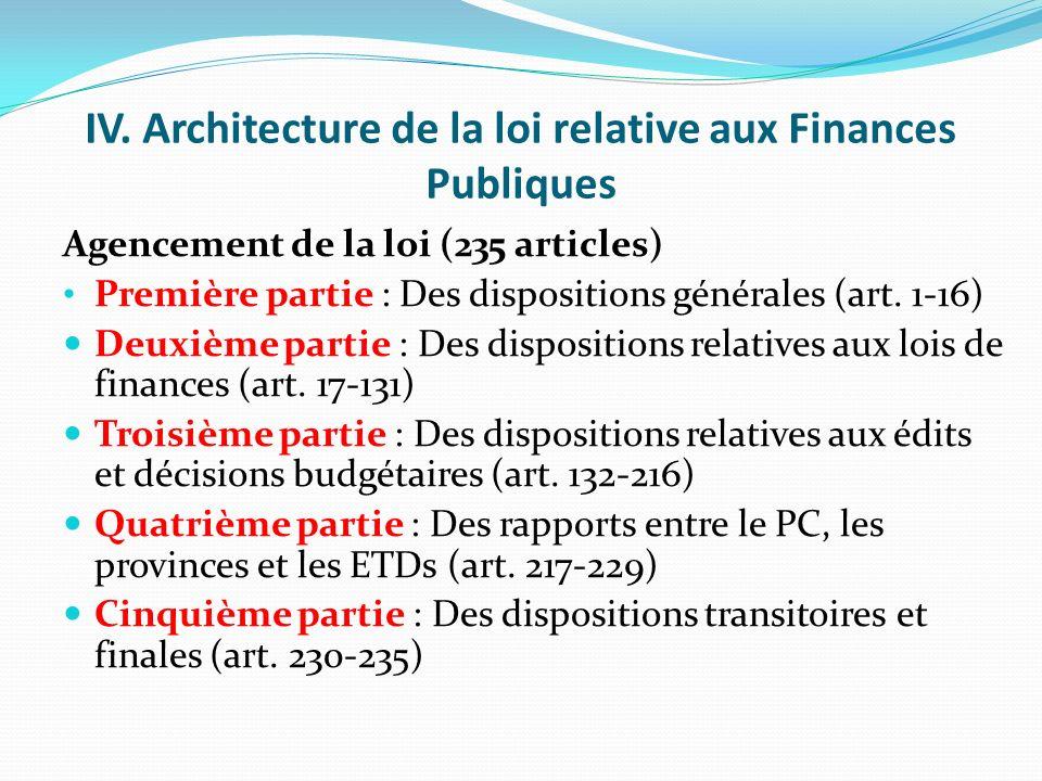 IV. Architecture de la loi relative aux Finances Publiques