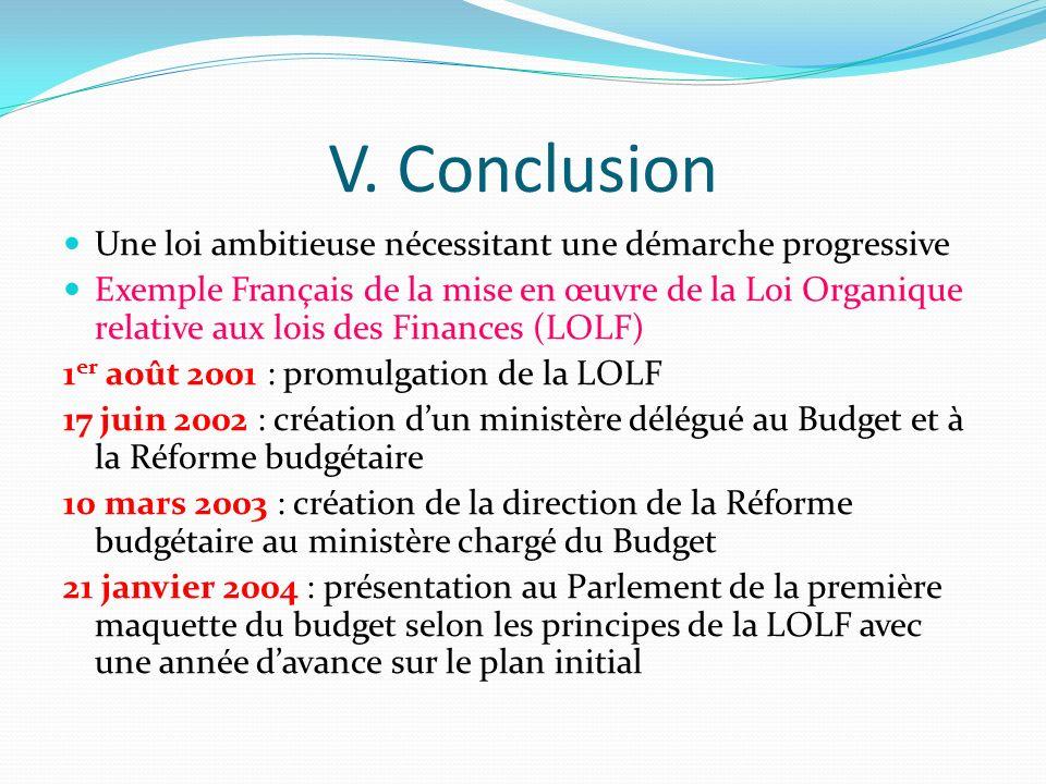 V. Conclusion Une loi ambitieuse nécessitant une démarche progressive