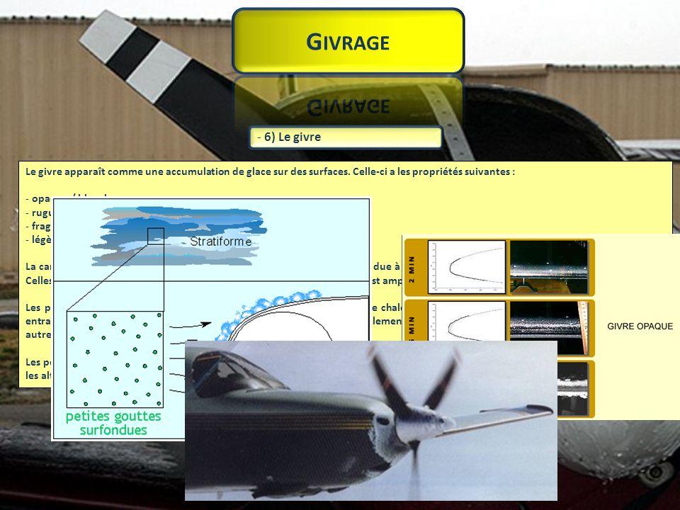 Givrage 6) Le givre. Le givre apparaît comme une accumulation de glace sur des surfaces. Celle-ci a les propriétés suivantes :