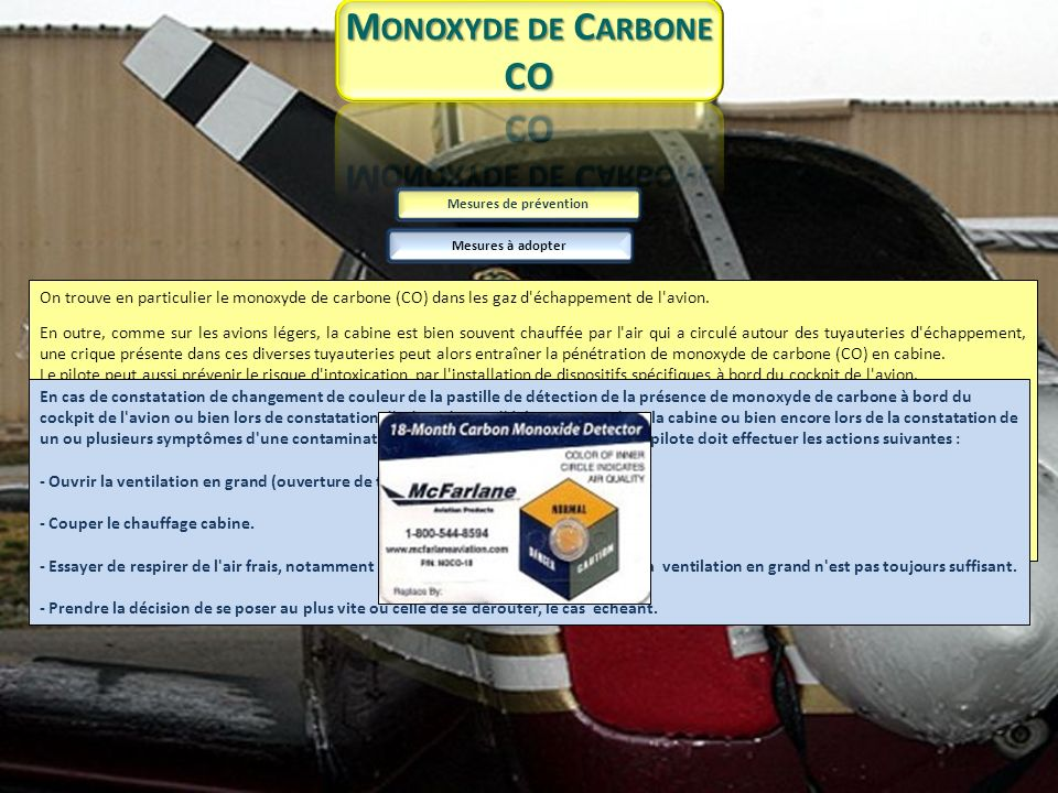 Monoxyde de Carbone CO. Mesures de prévention. Mesures à adopter.