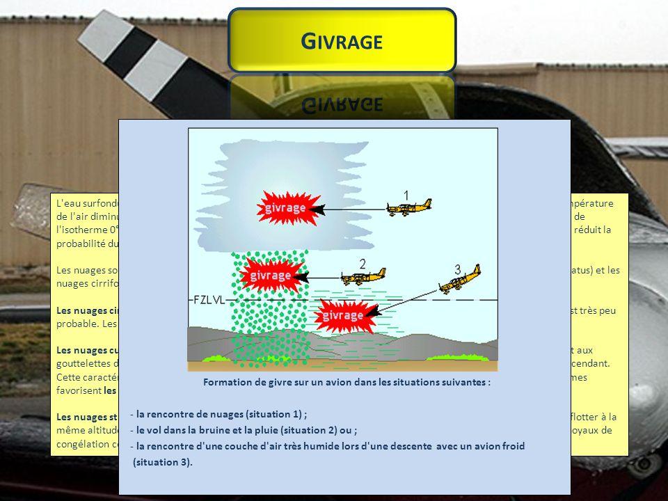 Formation de givre sur un avion dans les situations suivantes :