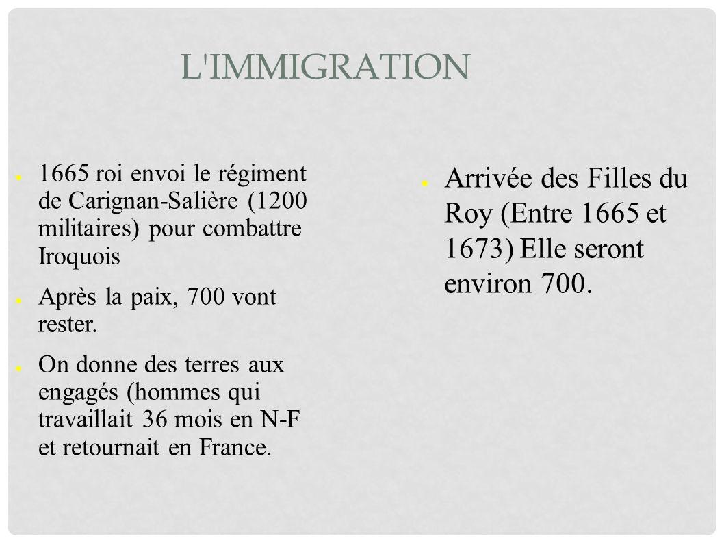 L immigration 1665 roi envoi le régiment de Carignan-Salière (1200 militaires) pour combattre Iroquois.