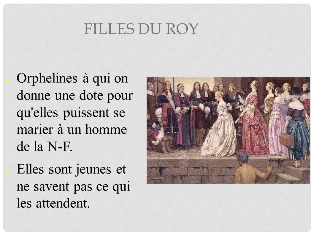 Filles du Roy Orphelines à qui on donne une dote pour qu elles puissent se marier à un homme de la N-F.