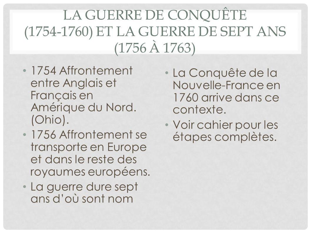 La guerre de Conquête (1754-1760) et la guerre de Sept Ans (1756 à 1763)
