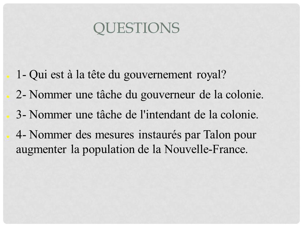 Questions 1- Qui est à la tête du gouvernement royal