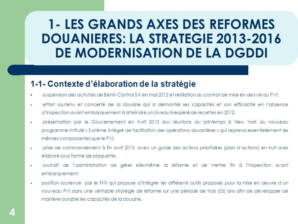 1- LES GRANDS AXES DES REFORMES DOUANIERES: LA STRATEGIE 2013-2016 DE MODERNISATION DE LA DGDDI