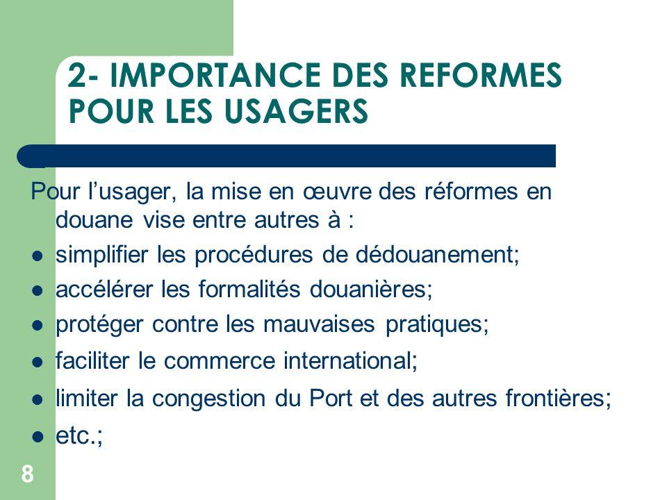 2- IMPORTANCE DES REFORMES POUR LES USAGERS