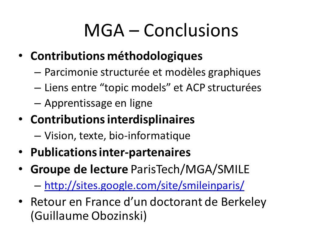 MGA – Conclusions Contributions méthodologiques
