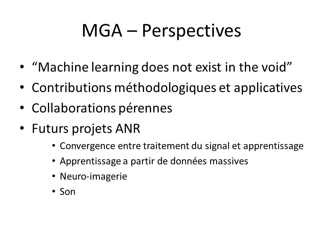 MGA – Perspectives Machine learning does not exist in the void