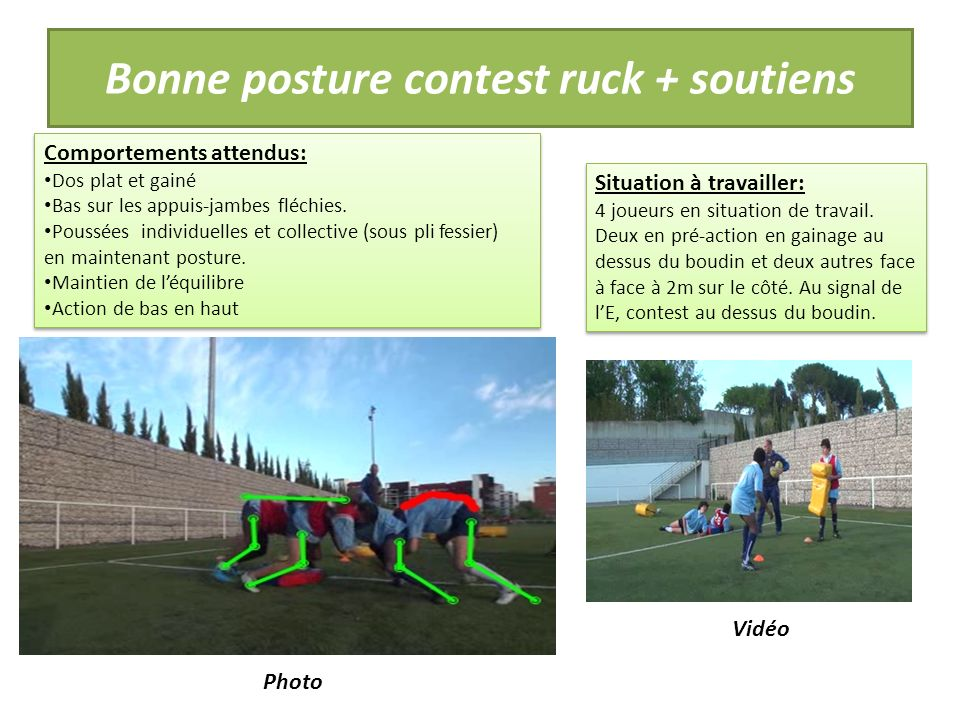 Bonne posture contest ruck + soutiens