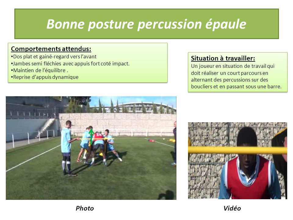 Bonne posture percussion épaule