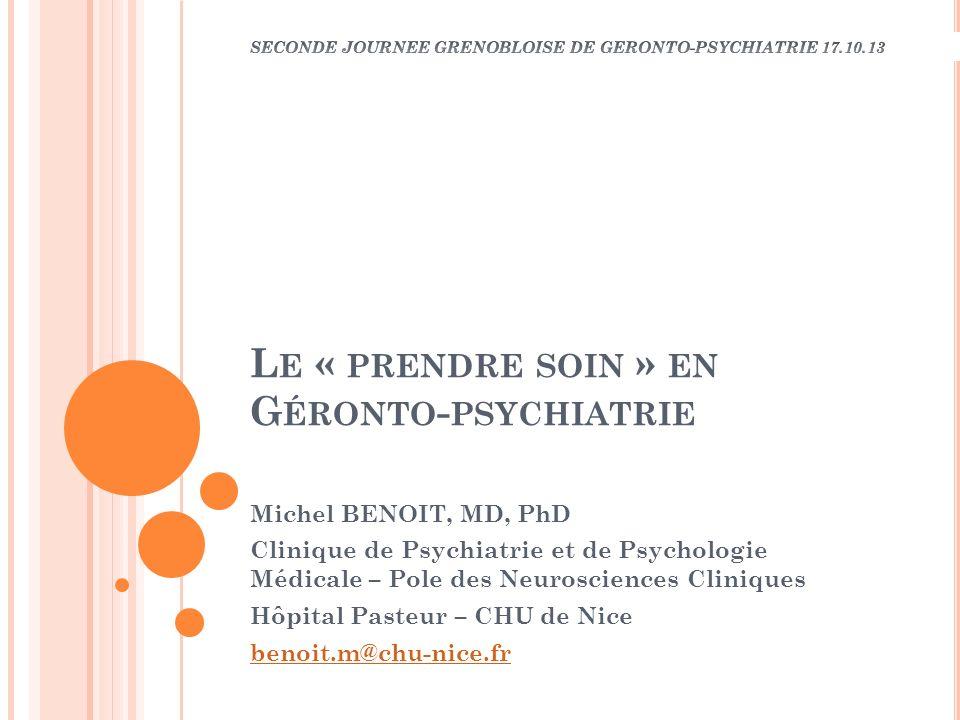 Le « prendre soin » en Géronto-psychiatrie